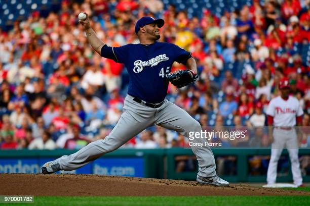 Jhoulys Chacin of the Milwaukee Brewers pitches against the Philadelphia Phillies during the first inning at Citizens Bank Park on June 8 2018 in...