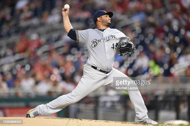 Jhoulys Chacin of the Milwaukee Brewers pitches during a baseball game against the Washington Nationals at Nationals Park on August 31 2018 in...