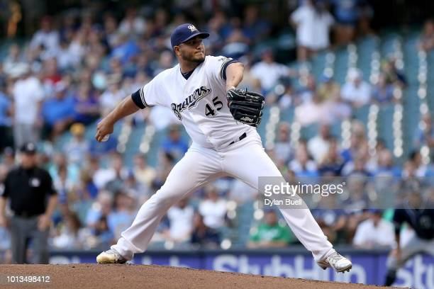 Jhoulys Chacin of the Milwaukee Brewers pitches in the first inning against the San Diego Padres at Miller Park on August 8 2018 in Milwaukee...