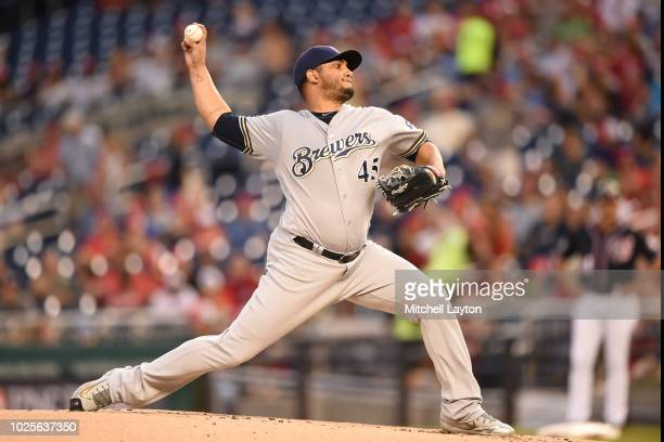 Jhoulys Chacin of the Milwaukee Brewers pitches in the first inning during a baseball game against the Washington Nationals at Nationals Park on...