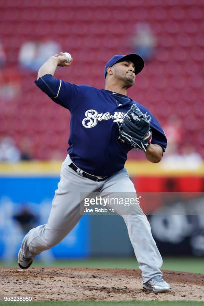 Jhoulys Chacin of the Milwaukee Brewers pitches in the first inning of a game against the Cincinnati Reds at Great American Ball Park on April 30...