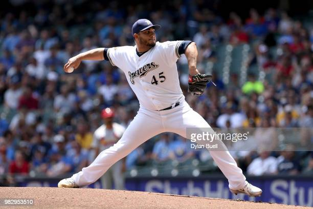 Jhoulys Chacin of the Milwaukee Brewers pitches in the first inning against the St Louis Cardinals at Miller Park on June 24 2018 in Milwaukee...