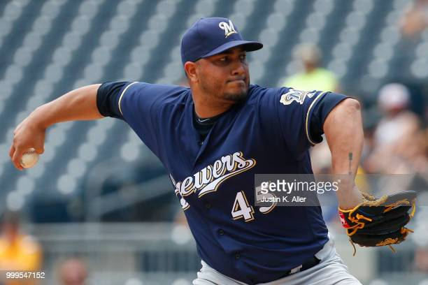 Jhoulys Chacin of the Milwaukee Brewers pitches in the first inning against the Pittsburgh Pirates at PNC Park on July 15 2018 in Pittsburgh...