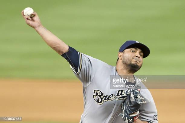 Jhoulys Chacin of the Milwaukee Brewers pitches in the fourth inning during a baseball game against the Washington Nationals at Nationals Park on...