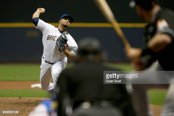 Jhoulys Chacin of the Milwaukee Brewers pitches in the fourth inning against the Miami Marlins at Miller Park on April 20 2018 in Milwaukee Wisconsin