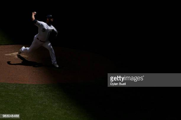 Jhoulys Chacin of the Milwaukee Brewers pitches in the fourth inning against the St Louis Cardinals at Miller Park on June 24 2018 in Milwaukee...