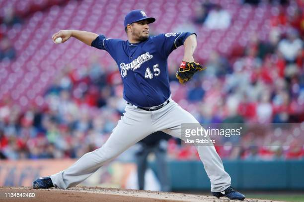 Jhoulys Chacin of the Milwaukee Brewers pitches in the second inning against the Cincinnati Reds at Great American Ball Park on April 2 2019 in...