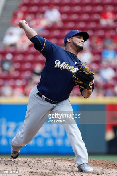 Jhoulys Chacin of the Milwaukee Brewers pitches in the second inning against the Cincinnati Reds at Great American Ball Park on June 30 2018 in...
