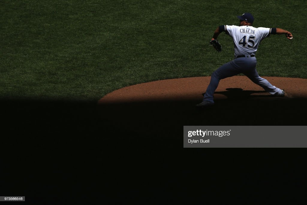 Jhoulys Chacin #45 of the Milwaukee Brewers pitches in the sixth inning against the Chicago Cubs at Miller Park on May 27, 2018 in Milwaukee, Wisconsin.