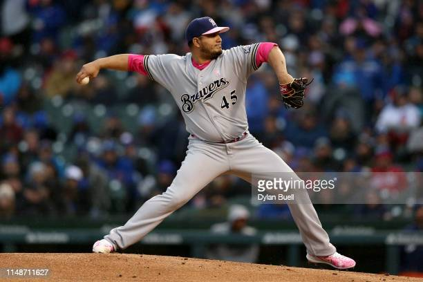 Jhoulys Chacin of the Milwaukee Brewers pitches in the third inning against the Chicago Cubs at Wrigley Field on May 12 2019 in Chicago Illinois