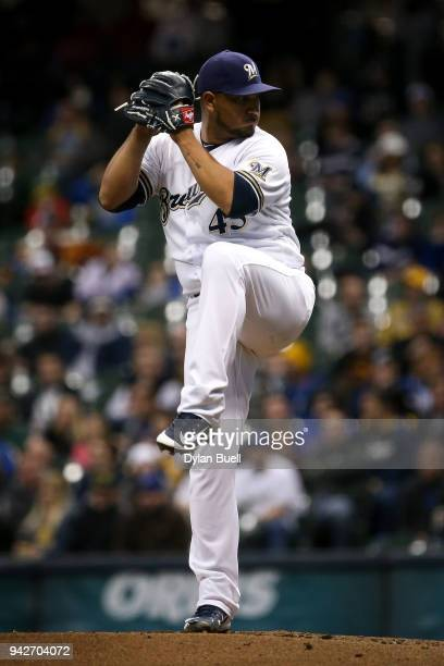 Jhoulys Chacin of the Milwaukee Brewers pitches in the third inning against the St Louis Cardinals at Miller Park on April 4 2018 in Milwaukee...