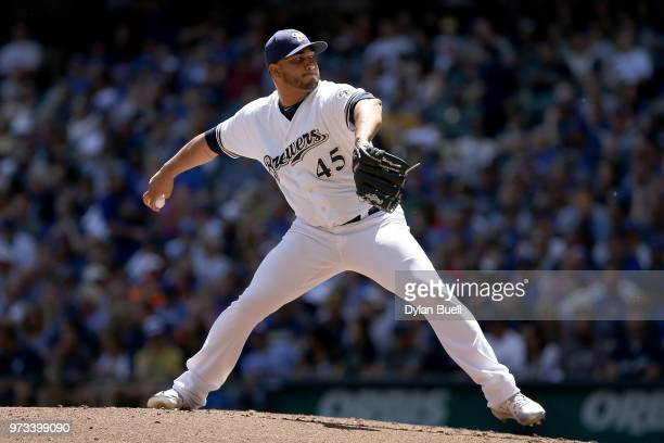 Jhoulys Chacin of the Milwaukee Brewers pitches in the third inning against the Chicago Cubs at Miller Park on May 27 2018 in Milwaukee Wisconsin