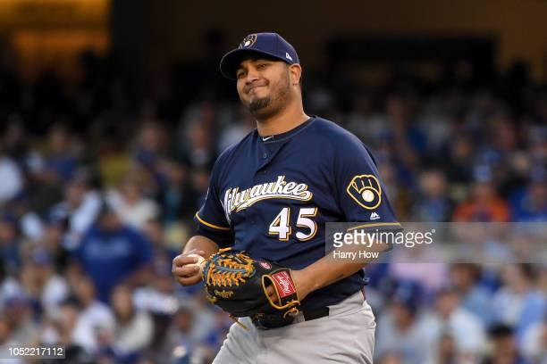 Jhoulys Chacin of the Milwaukee Brewers reacts to a ball against the Los Angeles Dodgers during the fourth inning in Game Three of the National...