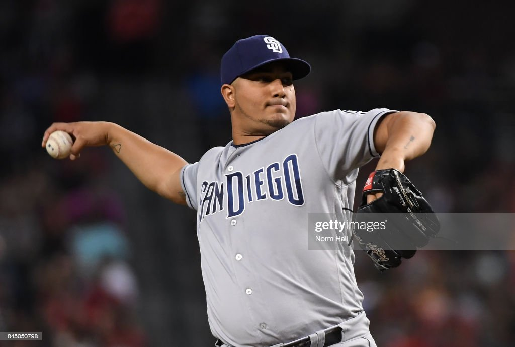 Jhoulys Chacin #46 of the San Diego Padres delivers a first inning pitch against the Arizona Diamondbacks at Chase Field on September 9, 2017 in Phoenix, Arizona.