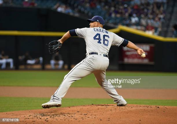 Jhoulys Chacin of the San Diego Padres delivers a pitch against the Arizona Diamondbacks at Chase Field on April 24 2017 in Phoenix Arizona