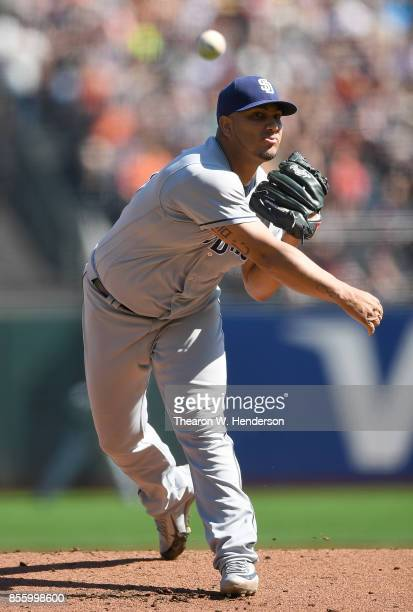 Jhoulys Chacin of the San Diego Padres pitches against the San Francisco Giants in the bottom of the first inning at ATT Park on September 30 2017 in...