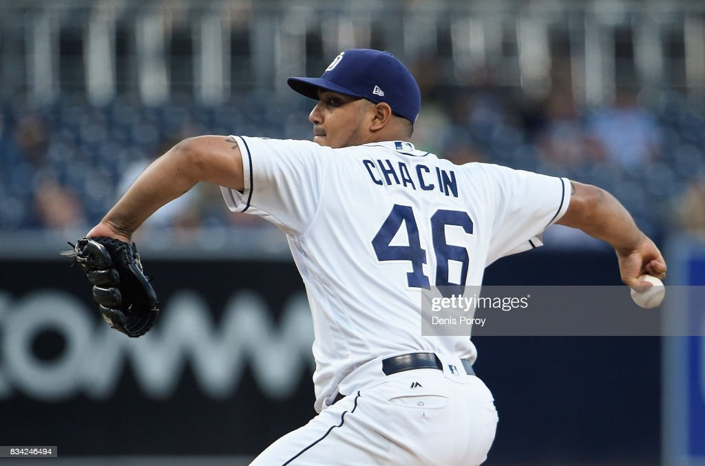 Jhoulys Chacin #46 of the San Diego Padres pitches during the first inning of a baseball game against the Washington Nationals at PETCO Park on August 17, 2017 in San Diego, California.