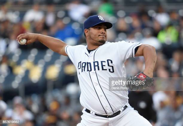 Jhoulys Chacin of the San Diego Padres pitches during the first inning of a baseball game against the Colorado Rockies at PETCO Park on September 23...