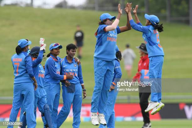 Jhulan Goswami and Jemimah Rodrigues of India celebrate during game one of the One Day International Series between New Zealand White Ferns and India...