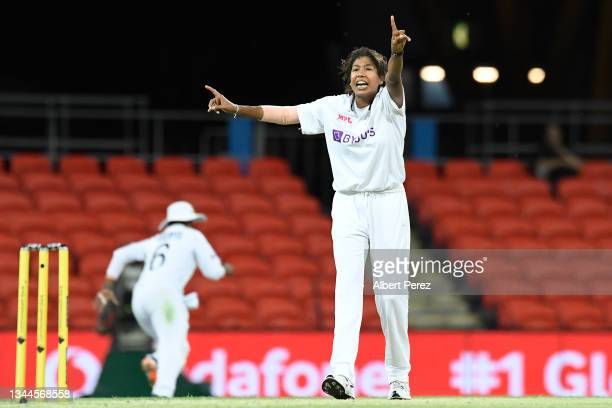Jhulan Goswami of India appeals for the wicket of Meg Lanning of Australia during day four of the Women's International Test Match between Australia...