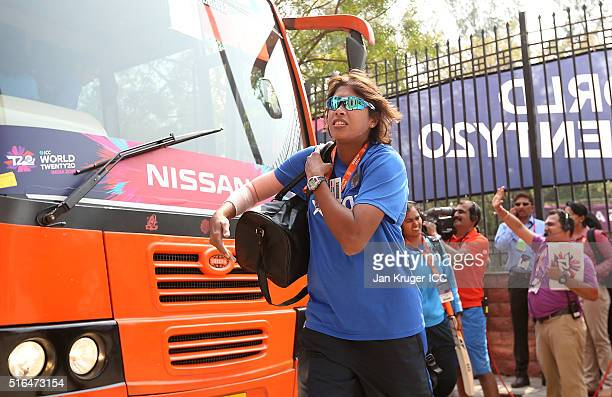 Jhulan Goswami of India arrives ahead of the Women's ICC World Twenty20 India 2016 match between India and Pakistan at Feroz Shah Kotla Ground on...