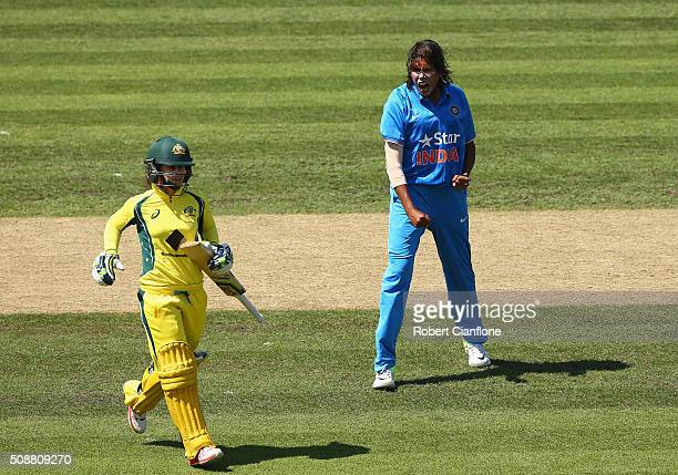 Jhulan Goswami of India celebrates after taking the wicket of Nicole Bolton of Australia during game three of the one day international series...