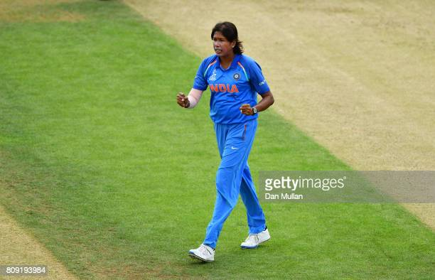 Jhulan Goswami of India celebrates taking the wicket of Hasini Perera of Sri Lanka during the ICC Women's World Cup 2017 match between Sri Lanka and...