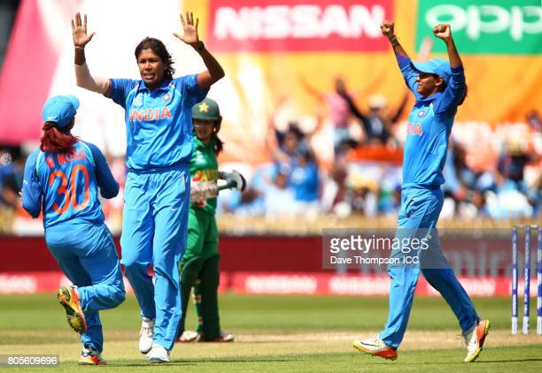 Jhulan Goswami of India celebrates taking the wicket of Javeria Wadwood of Pakistan during the ICC Women's World Cup match between India and Pakistan...