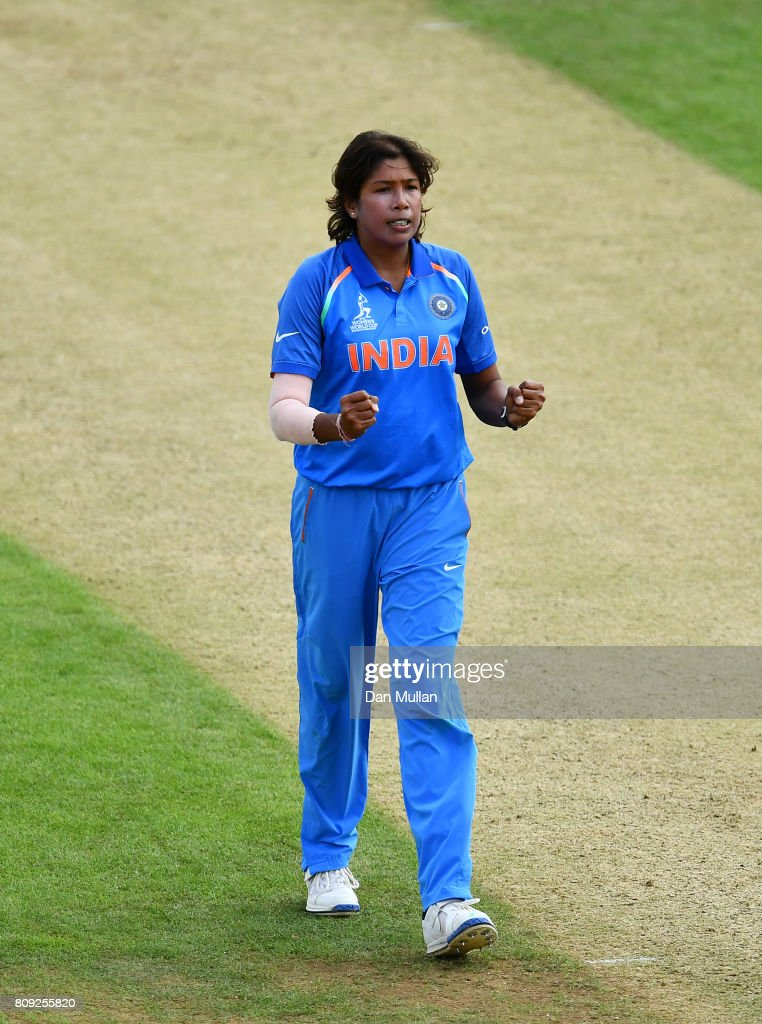 Jhulan Goswami of India celebrates taking the wicket of Shashikala Siriwardena of Sri Lanka during the ICC Women's World Cup 2017 match between Sri Lanka and India at The 3aaa County Ground on July 5, 2017 in Derby, England.