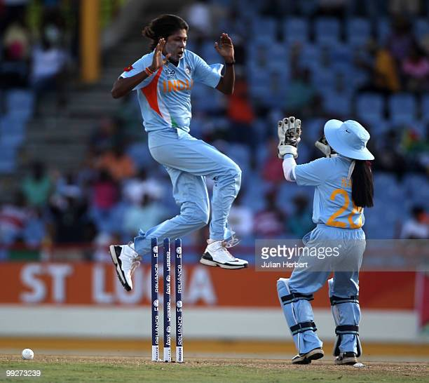 Jhulan Goswami of India celebrates with Sulakshana Naik the wicket of Elyse Villani during the ICC Womens World Cup Twenty20 semi final between...
