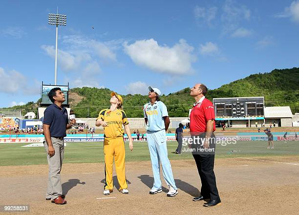 Jhulan Goswami of India looks on as Alex Blackwell tosses the coin before the ICC Womens World Cup Twenty20 semi final between Australia and India...