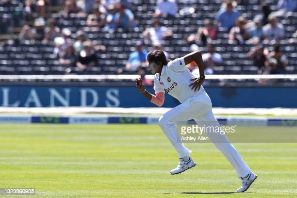 Jhulan Goswami of India runs in to bowl on Day One of the LV= Insurance Test Match between England Women and India Women at Bristol County Ground on...