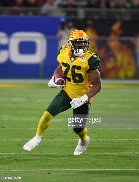 JhurellÊPressley of the Arizona Hotshots runs with the ball against the Salt Lake Stallions during the Alliance of American Football game at Sun...