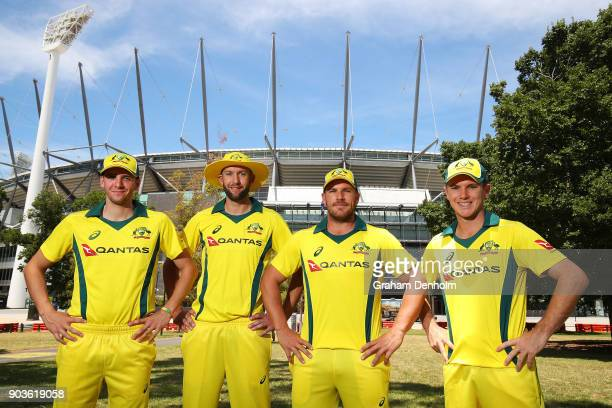 Jhye Richardson Andrew Tye Aaron Finch and Adam Zampa of Australia pose during the One Day International Series Launch at Melbourne Cricket Ground on...