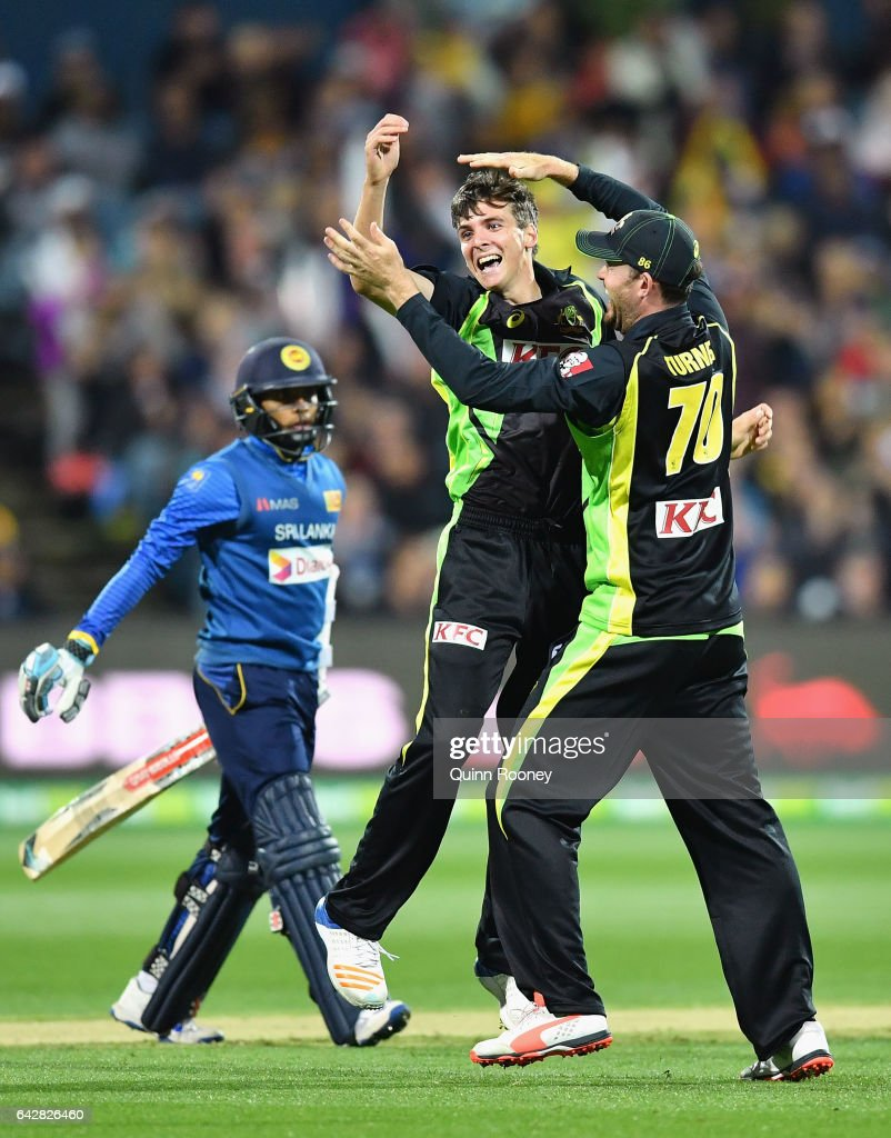 Jhye Richardson of Australia is congratulated by team mates after taking the wicket of Kusal Mendis of Sri Lanka during the second International Twenty20 match between Australia and Sri Lanka at Simonds Stadium on February 19, 2017 in Geelong, Australia.