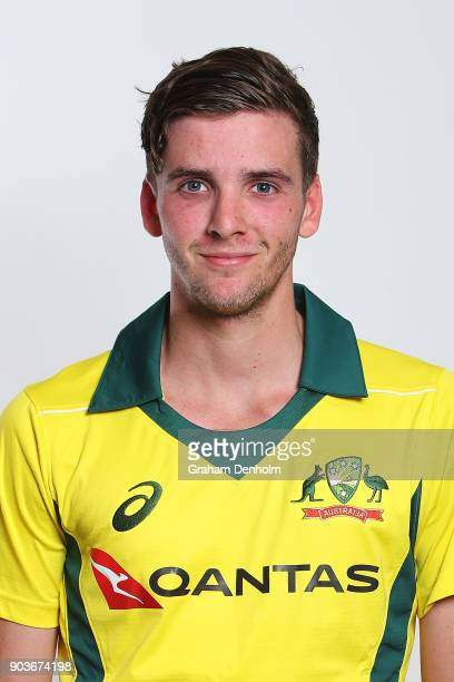 Jhye Richardson of Australia poses during an Australia One Day International headshots session at the Melbourne Cricket Ground on January 11 2018 in...