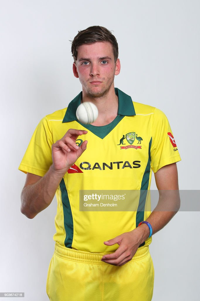 Jhye Richardson of Australia poses during an Australia One Day International headshots session at the Melbourne Cricket Ground on January 11, 2018 in Melbourne, Australia.