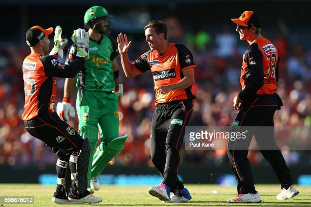 Jhye Richardson of the Scorchers celebrates the wicket of Glenn Maxwell of the Stars during the Big Bash League match between the Perth Scorchers and...