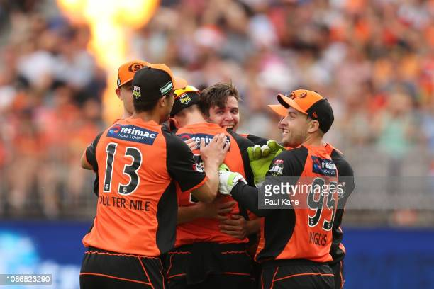 Jhye Richardson of the Scorchers celebrates the wicket of Jake Lehmann of the Strikers during the Big Bash League match between the Perth Scorchers...
