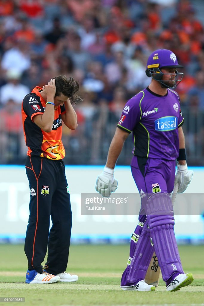 Jhye Richardson of the Scorchers reacts after being hit to the boundary during the Big Bash League Semi Final match between the Perth Scorchers and the Hobart Hurricanes at Optus Stadium on February 1, 2018 in Perth, Australia.