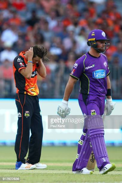 Jhye Richardson of the Scorchers reacts after being hit to the boundary during the Big Bash League Semi Final match between the Perth Scorchers and...