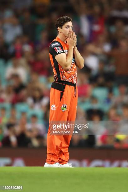 Jhye Richardson of the Scorchers shows his frustration during the Big Bash League Final match between the Sydney Sixers and the Perth Scorchers at...