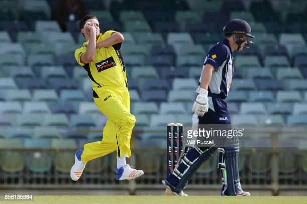 Jhye Richardson of the Warriors bowls during the JLT One Day Cup match between Victoria and Western Australia at WACA on October 1 2017 in Perth...