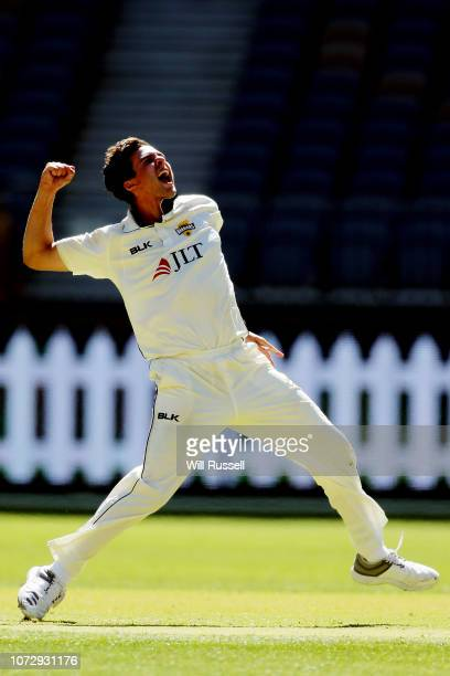 Jhye Richardson of the Warriors celebrates after taking the wicket of Jack Edwards of the Blues during the Sheffield Shield match between Western...