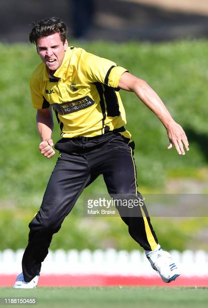 Jhye Richardson of the Warriors celebrates the last wicket of Callum Ferguson of the Redbacks out lbw during the Marsh One Day Cup match between...