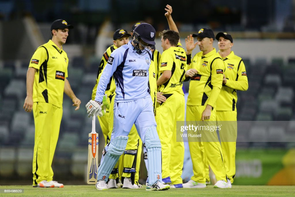Jhye Richardson of WA celebrates after taking the wicket of Sean Abbott of NSW during the JLT One Day Cup match between New South Wales and Western Australia at WACA on September 29, 2017 in Perth, Australia.
