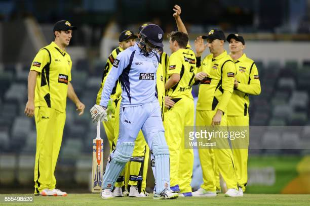 Jhye Richardson of WA celebrates after taking the wicket of Sean Abbott of NSW during the JLT One Day Cup match between New South Wales and Western...