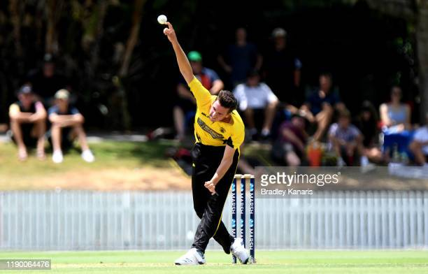 Jhye Richardson of Western Australia bowls during the Marsh One Day Cup Final between Queensland and Western Australia at the Allan Border Field on...