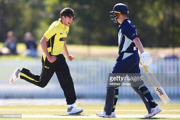 Jhye Richardson of Western Australia celebrates the wicket of Marcus Harris of Victoria during the JLT One Day Cup between Victoria and Western...