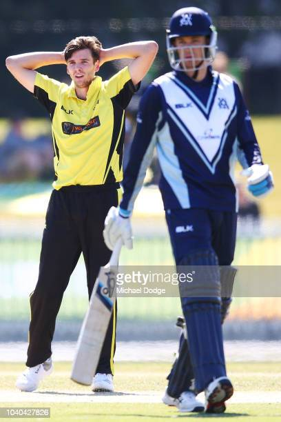 Jhye Richardson of Western Australia reacts after being hit to the boundary during the JLT One Day Cup between Victoria and Western Australia at...